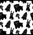 hand drawn wood animals seamless pattern vector image vector image