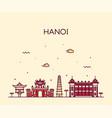 hanoi skyline vietnam linear style city vector image vector image