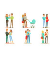 happy families with babies set smiling mother vector image vector image