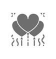 heart shaped balloons confetti grey icon vector image