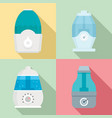 humidifier icon set flat style vector image vector image