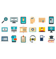 interactive learning icons set flat style vector image vector image