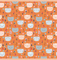 kids seamless pattern with cute little cats funny vector image vector image