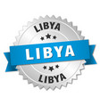 libya round silver badge with blue ribbon vector image vector image