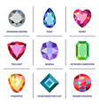 Low poly popular colored gems cuts infographics vector image