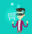 man in virtual reality headset shopping online vector image vector image