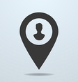 Map pointer with a male symbol vector image vector image