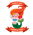 mermaid with ribbon banner clipart on the marine vector image vector image