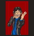 mick jagger of the rolling stones cartoon vector image vector image