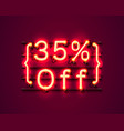 neon frame 35 off text banner night sign board vector image vector image