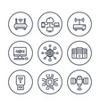 network internet data technology line icons vector image vector image