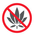no marijuana glyph icon prohibition and forbidden vector image vector image