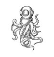 octopus and old diver helmet engraving vector image