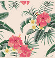 plumeria hibiscus leaves tropical seamless pattern vector image vector image