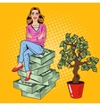 Pop Art Rich Woman Sitting on a Stack of Money vector image vector image