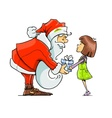 Santa Claus give gift to girl