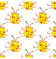 seamless beetle bugs yellow cartoon pattern in vector image