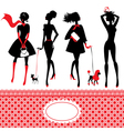 Set of silhouettes of fashionable girls on a white vector image vector image