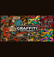 set seamless patterns with graffiti art vector image