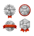 Silver metallic Quality badges or labels vector image