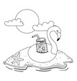 summer and vacation flamingo float design vector image vector image