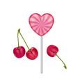 sweet realistic lollipop in pink color vector image vector image