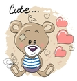 Teddy Bear with hearts vector image vector image