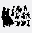 traditional dance male and female silhouette vector image vector image