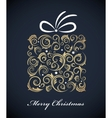 vintage christmas gift box with retro ornaments vector image vector image
