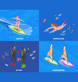water sports isometric concept set vector image vector image