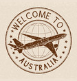 welcome to australia travel stamp on beige vector image vector image