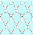white rabbit on blue mint background vector image vector image