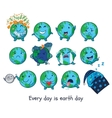 Cute cartoon Earth globe with emotions vector image