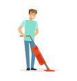 young smiling man cleaning the floor with steam vector image