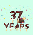 37 years anniversary invitation card vector image vector image
