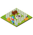 3d design for farmer and cows vector image vector image