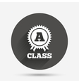 A-class award sign icon Premium level symbol vector image vector image