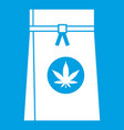 bag with cannabis icon white vector image vector image