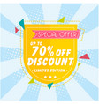 banner special offer up to 70 off discount vector image vector image
