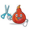 barber red kuri squash character cartoon vector image