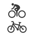 bicycle and cycling icons on white background vector image vector image