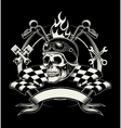 biker emblem with skull or dead motorcycle vector image vector image