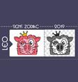 black pig zodiac leo vector image vector image