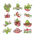 cactus and chili pepper hand drawn vector image