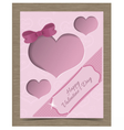 Clipped Pink Valentine Card Template with Hearts vector image