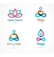 Collection of yoga icons elements and symbols vector image vector image