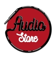 Color vintage audio store emblem vector image