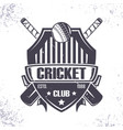 cricket club badge vector image vector image
