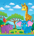 cute african animals theme image 5 vector image