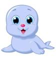 Cute baby seal cartoon vector image